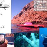 La técnica para el censo de especies marinas, desarrollada por los investigadores de Puerto Madryn y colegas de España e Italia, se basa en la combinación de una tabla de barrenar, un GPS, un reloj y un software gratuito. Créditos: Gentileza del Dr. Alejo Irigoyen