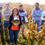 La doctora María de la Paz Giménez Pecci, jefa del grupo donde se realizó el estudio en el Instituto de Patología Vegetal del INTA-Córdoba, dando una charla a agricultores sobre las enfermedades de maíz en la región central del país.