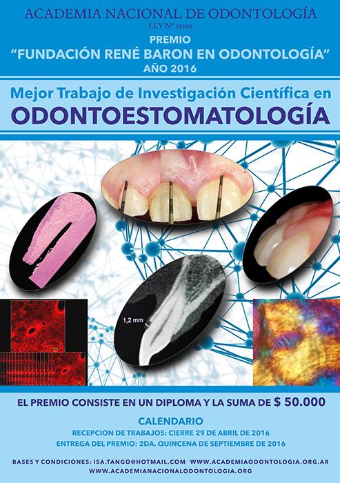 "Premio ""Fundación René Baron en Odontología 2016"""