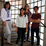 Karina Gómez, investigadora del CONICET, del INGEBI y de la UBA, con otros científicos, Micaela Ossowski, Magali Girard, y el primer autor del estudio,  Gonzalo R. Acevedo.