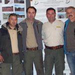 Algunos actores del exitoso programa: Juan Yone (Guardaparque), Aldo Delaloye (encargado del programa), Alfredo Reta (guardaparque  de Mendoza y ex encargado del programa) y Aristóbulo Maranta (biólogo y ex intendente del Parque Nacional El Palmar).
